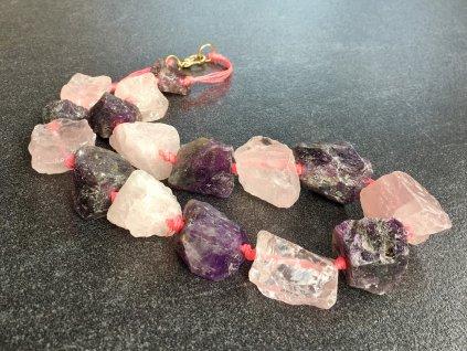 náhrdelníky z minerálů, ametyst, růženín surový náhrdelník