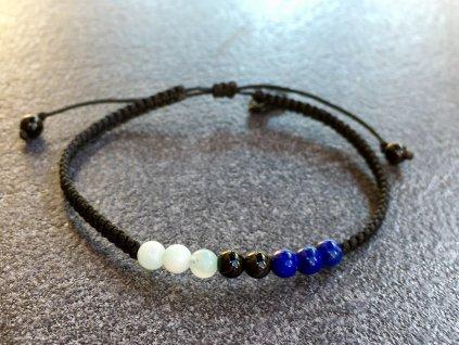 náramky z minerálů,životní číslo náramek bound lapis lazuli, achát černý, akvamarín