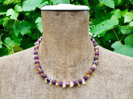 náhrdelníky z minerálů, jaspis, citrín náhrdelník