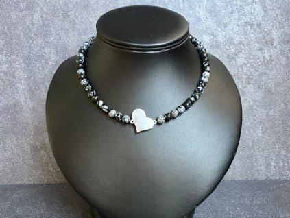 náhrdelníky z minerálů, obsidián náhrdelník