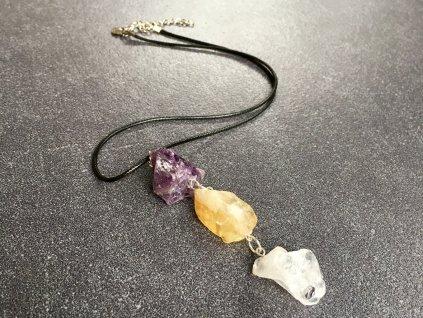náhrdelníky z minerálů, ametyst, citrín, křišťál surový náhrdelník