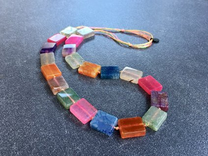 náhrdelníky z minerálů, achát mix kamenů náhrdelník