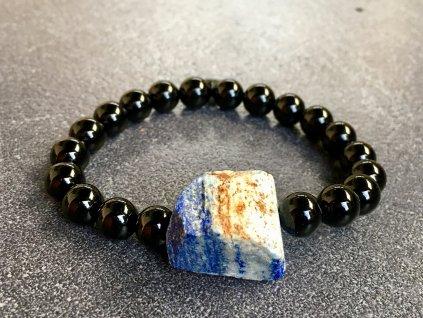 náramky z minerálů, lapis lazuli, achát černý náramek