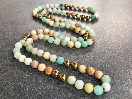 náhrdelníky z minerálů, amazonit, hematit, jaspis náhrdelník mála