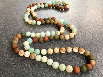 náhrdelníky z minerálů, amazoniz, jaspis náhrdelník mála