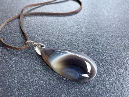 přívěsky z minerálů, achát šedý přívěsek slza