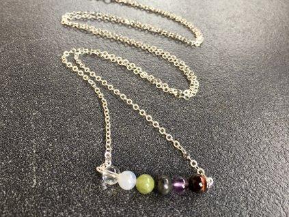 náhrdelníky z minerálů, mix býčí oko, ametyst, labradorit, jadeit, chalcedon, křišťál náhrdelník