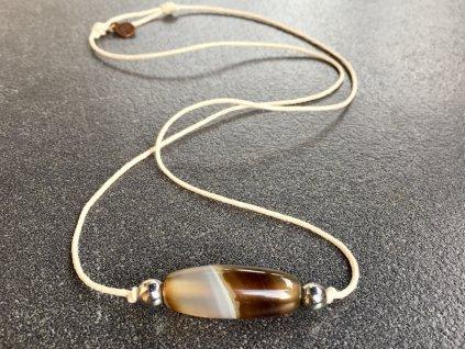náhrdelníky z minerálů, achát, hematit náhrdelník