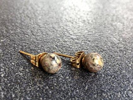 náušnice z minerálů, jaspis leopard náušnice