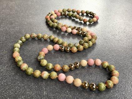 náhrdelníky z minerálů, unakit, jaspis, hematit náhrdelník mála