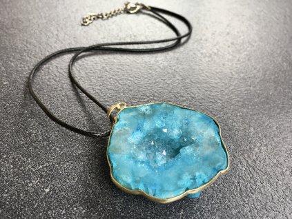náhrdelníky z minerálů, achát modrý náhrdelník
