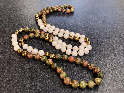 náhrdelníky z minerálů, mála náhrdelník, unakit, hematit, jadeit
