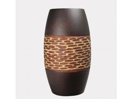 5023 drevena vazicka 15 5 cm thajsko hneda