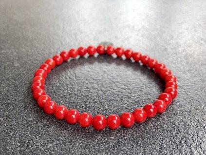 Korál červený AAA náramek - kulička 5 mm