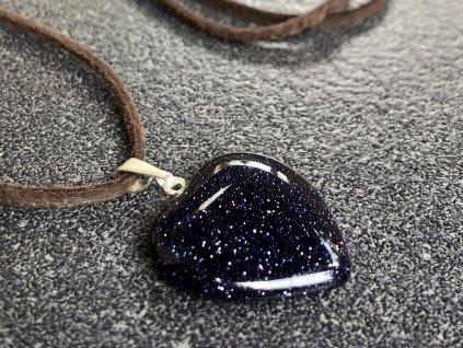 avanturín modrý, syntetický, blauflus, přívěsek srdce