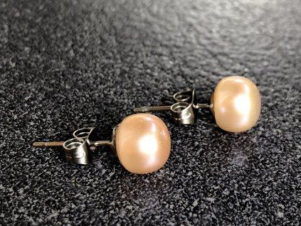 náušnice z minerálů, říční perla náušnice meruňkové