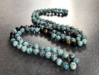náhrdelníky z minerálů, jaspis sezamový, achát černý, hematit zlacený náhrdelník mála
