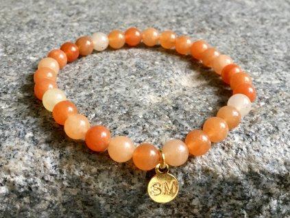 Avanturín oranžový náramek - kulička 6 mm