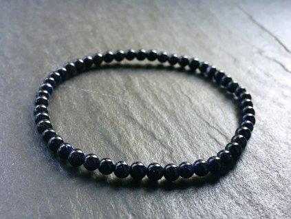 Avanturín modrý syntetický náramek kulička 4 mm