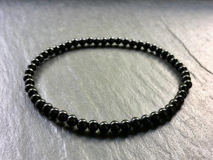 Achát černý náramek - kulička 4 mm