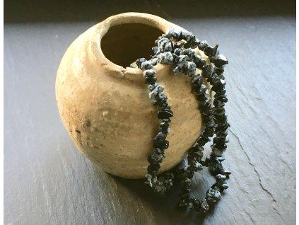 obsidián vločkový náhrdelník