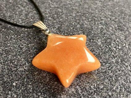 přívěsky z minerálů, avanturín oranžový přívěsek hvězdička