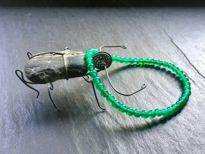 Achát zelený tmavý náramek kulička 4 mm