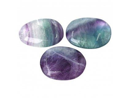 Fluorit dúhový placka kameň tromlovaný