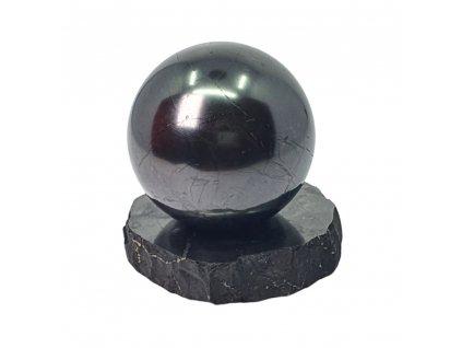 Šungitová guľa leštená na podstavci