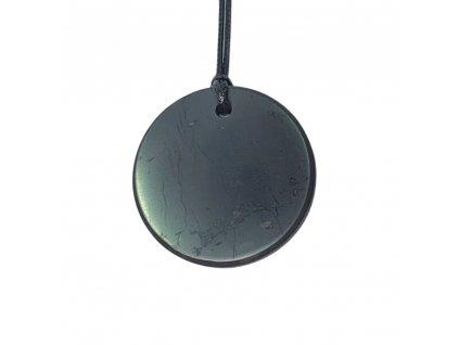 Šungitový leštený prívesok kruh