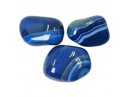 Achát modrý kameň tromlovaný