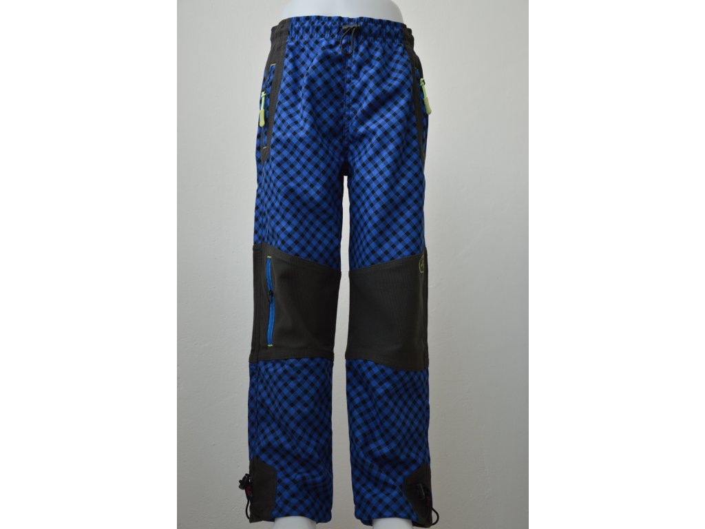 Chlapecké outdoorové kalhoty Kugo - modrá kostka