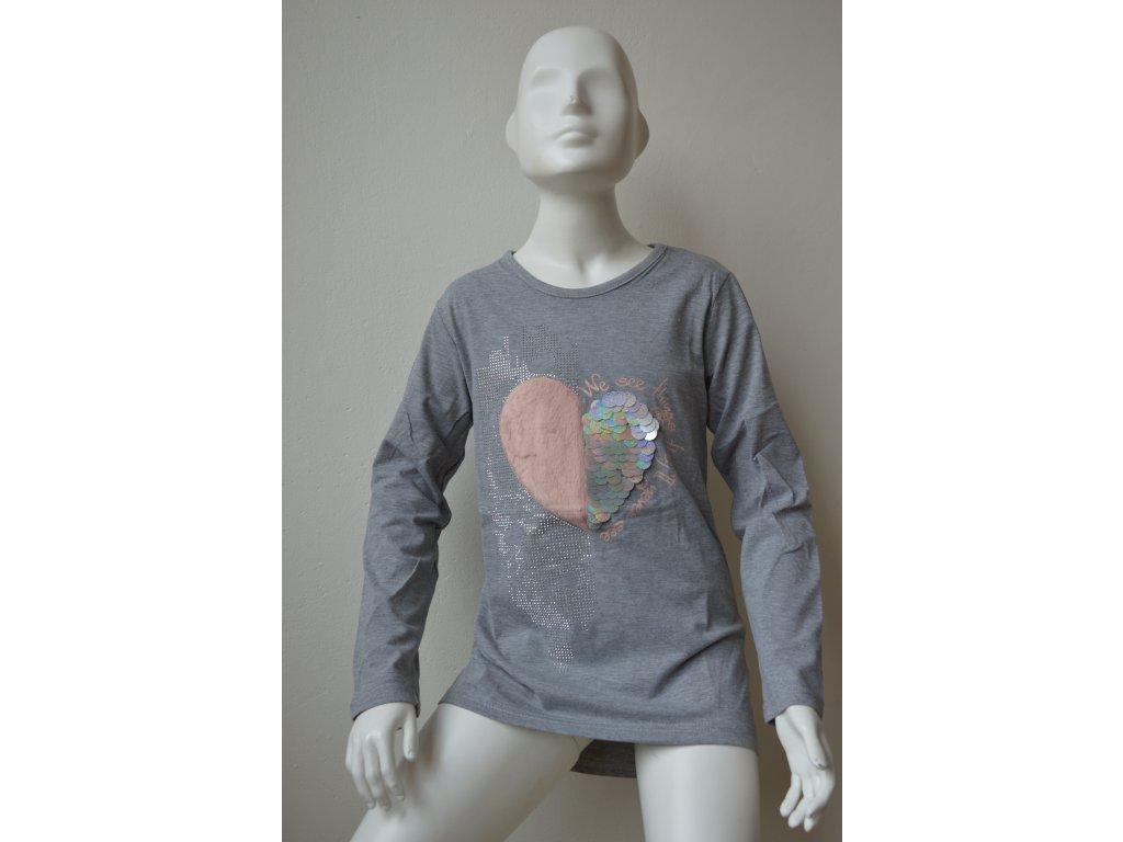 Dívčí tunika s motivem srdce a stříbrnými kamínky