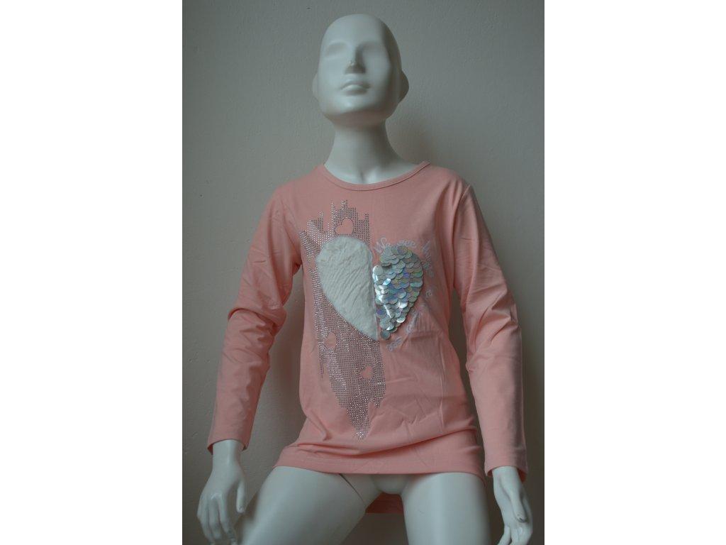 Dívčí tunika s motivem srdce a stříbrnými kamínky - růžová
