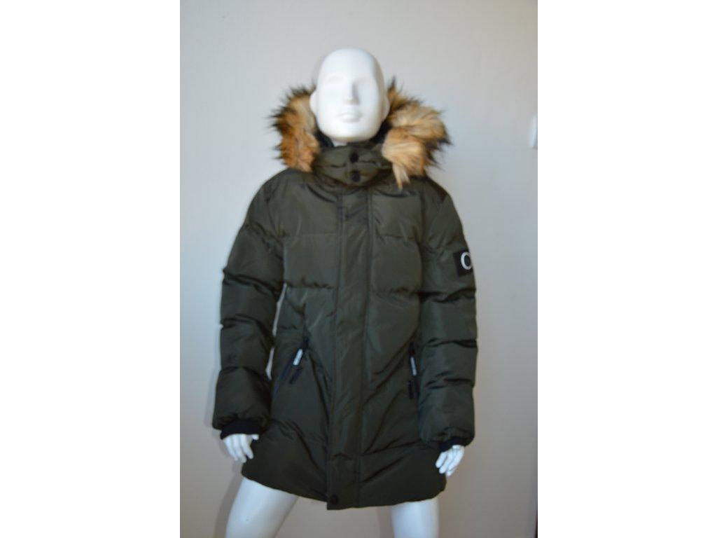 Dorostenecká zimní bunda s kapucí - zelená