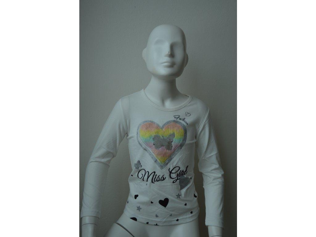 Dívčí triko s dlouhým rukávem zn. Kugo - bílé