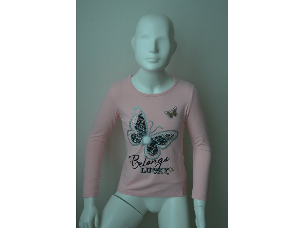 Dívčí tunika s motivem motýlka, zn. Kugo - světle růžová