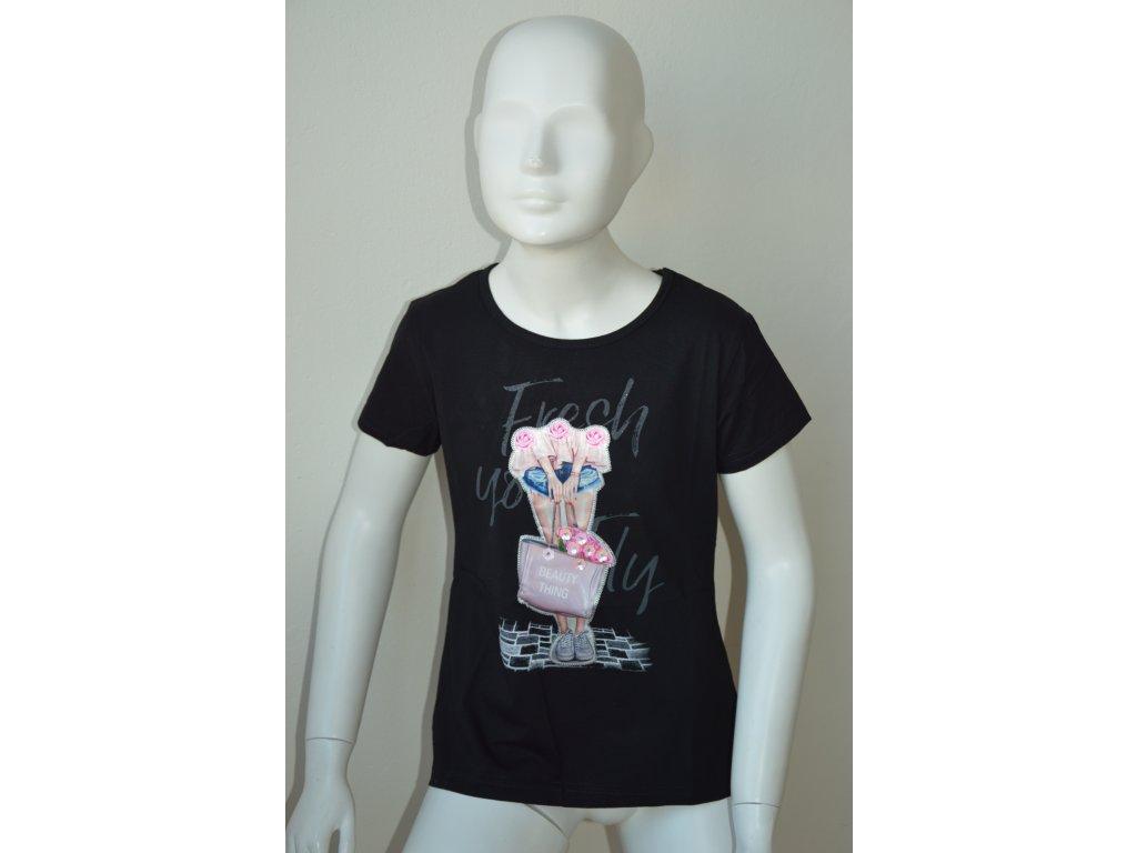 Dívčí moderní černé triko zn. Kugo