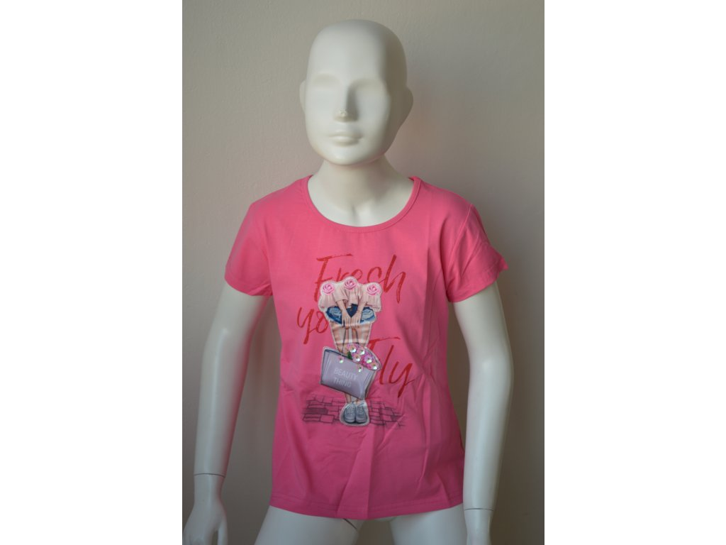 Dívčí moderní růžové triko zn. Kugo