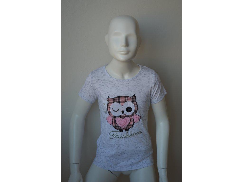 Dívčí žíhané triko zn. Kugo - šedá