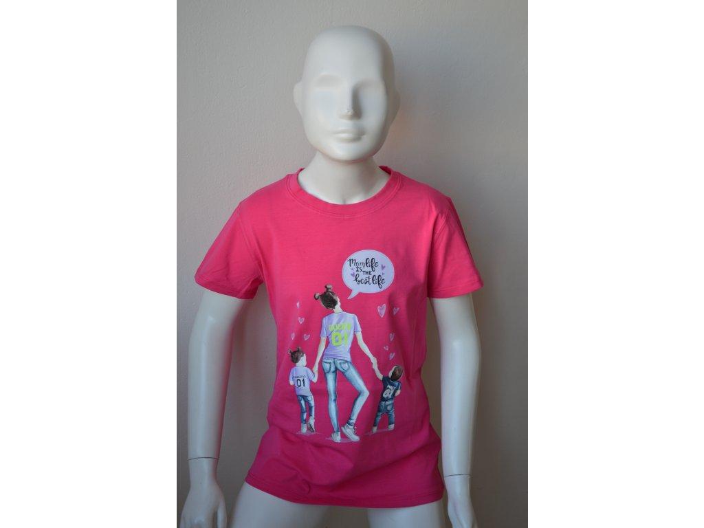 Dívčí dorostenecké růžové triko Kugo - na slunci svítí