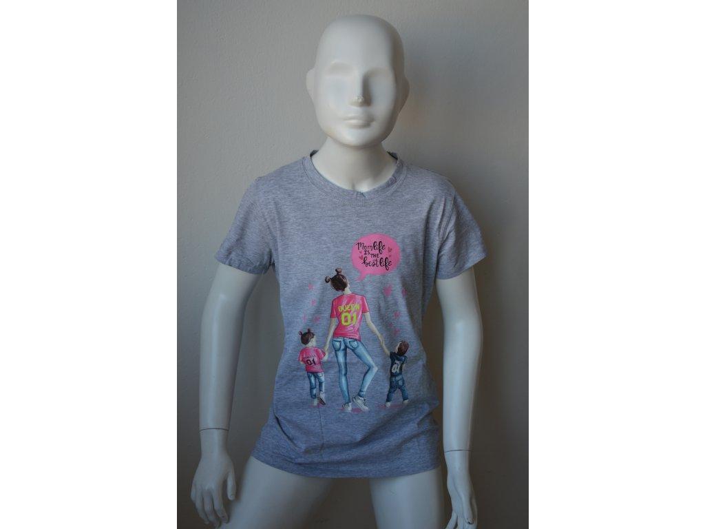 Dívčí dorostenecké šedé triko Kugo - na slunci svítí