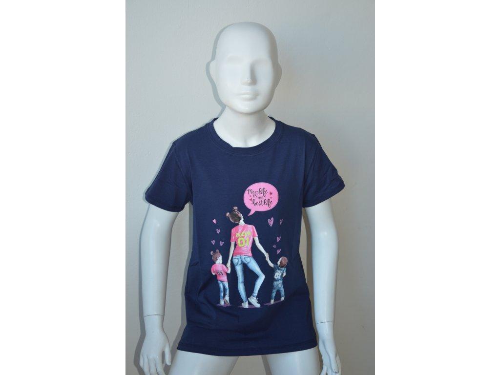 Dívčí dorostenecké tmavě modré triko Kugo - na slunci svítí
