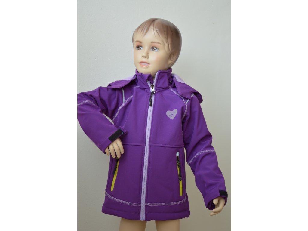 Zateplená softshellová bunda - fialová