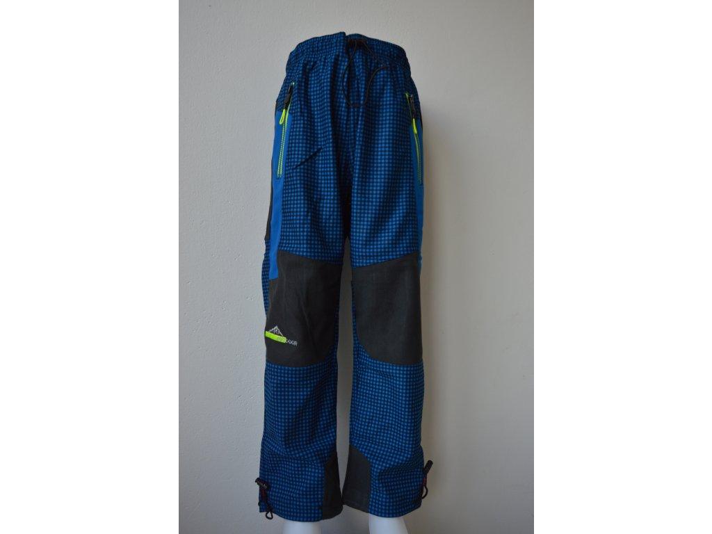 Chlapecké outdoorové kalhoty Kugo G9630 modrá kostka - žlutý zip