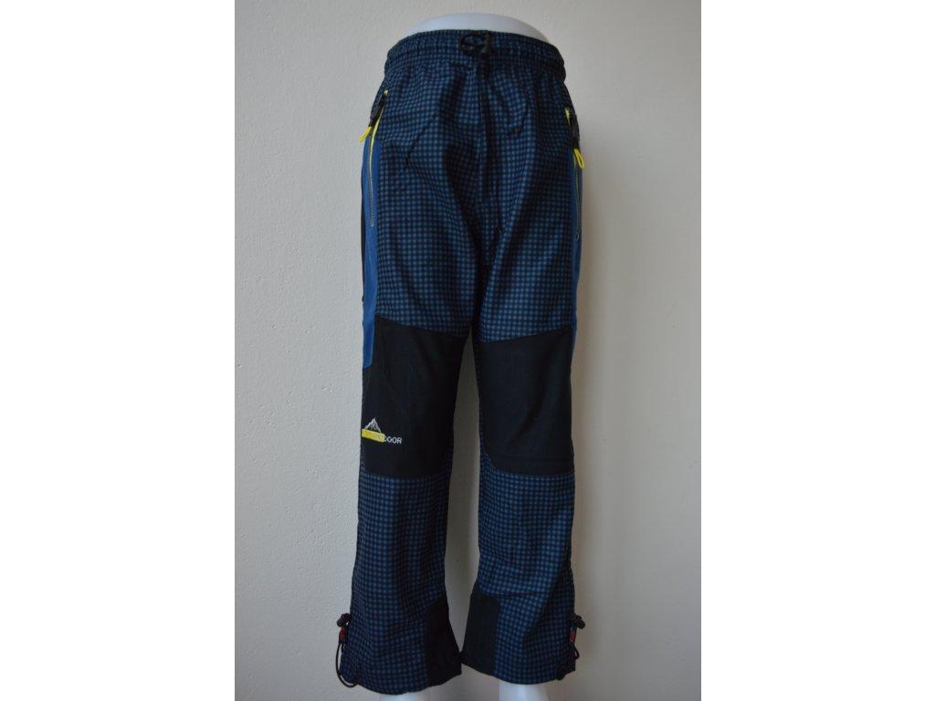 Chlapecké outdoorové kalhoty Kugo G9630 šedá kostka - žlutý zip