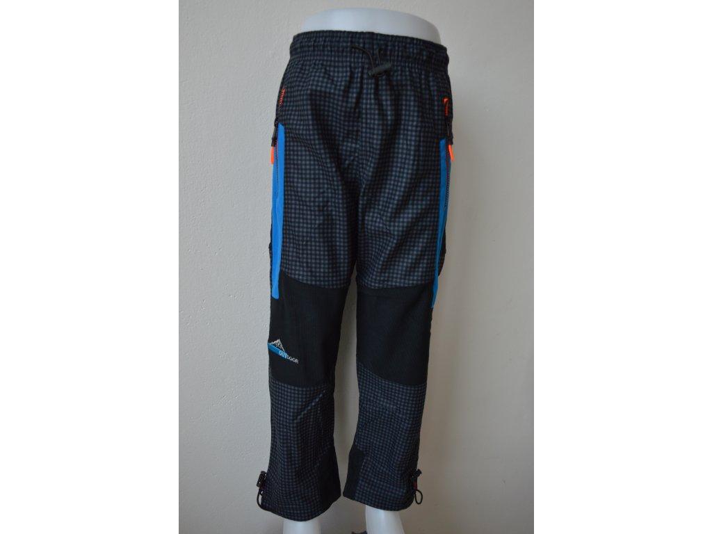 Chlapecké outdoorové kalhoty Kugo G9630 šedá kostka - oranžový zip