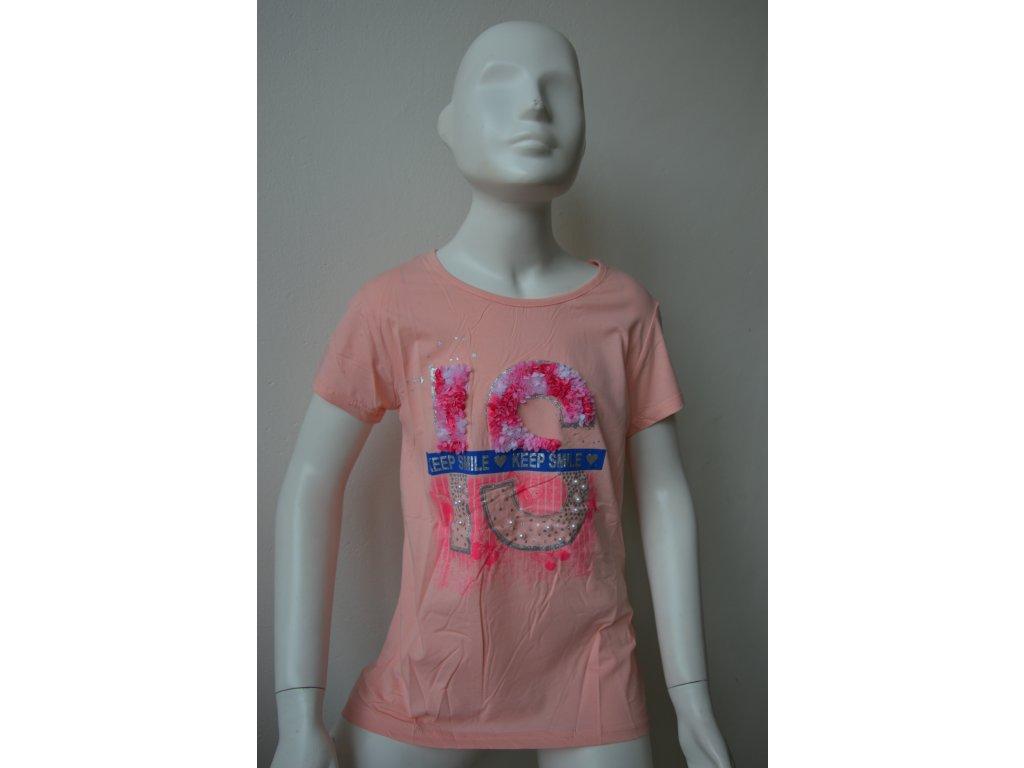 Dívčí triko zn. Kugo K 778 - lososové