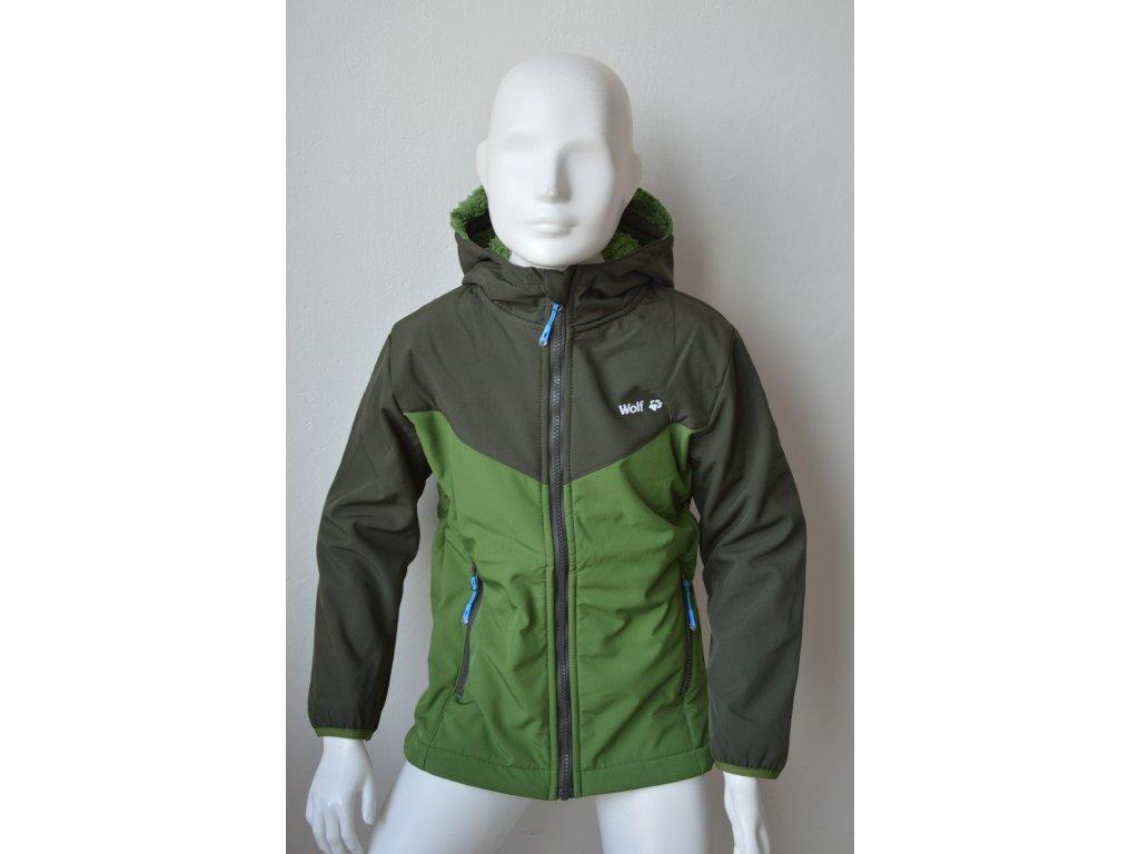 Chlapecká teplá softshellová bunda Wolf B 2063 - zelená