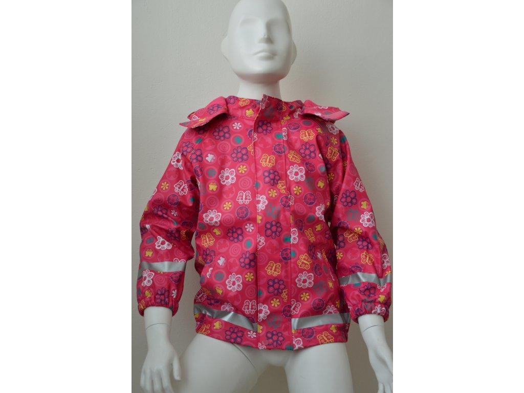Dívčí nepromokavá bunda Kugo - růžová s kytičkami